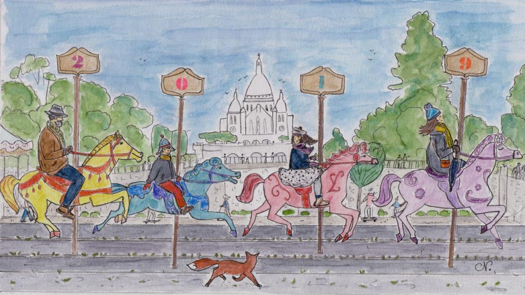 Cartes de Voeux 2019 directement inspirée du film Mary Poppins et de la séquence : Joly Holiday.